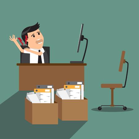businessman having shoulder pain while working at computer desk in office. flat design vector illustration. Vector