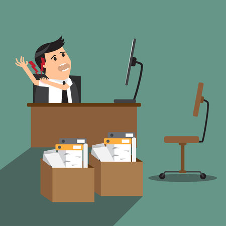 businessman having shoulder pain while working at computer desk in office. flat design vector illustration. Vector