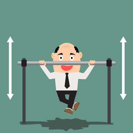 strong chin: Vector illustration of happy businessman pulling up on horizontal bar. Flat design. Illustration