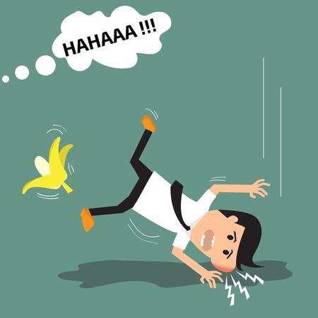 banana peel: Businessman slipping on a banana peel. vector illustration.