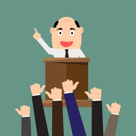 thump up: Cartoon businessman giving presentation at a podium with thumbs up, Rhetoric, Oratory, lecturer, business seminar. vector illustration.