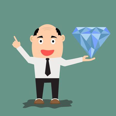 cartoon businessman with diamond, vector illustration. illustration