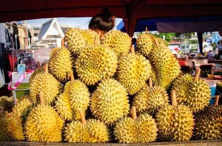 pile of durian in local market. photo