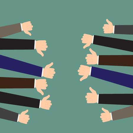 Business feedback concept. Like and dislike. Vector flat illustration.