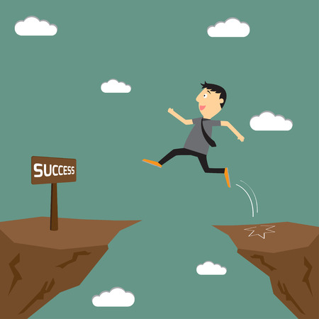 Empresario saltar por el precipicio a la meta. Hombre de negocios salta por el hueco. ilustración vectorial.