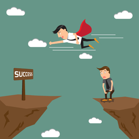 business competition. jump through the gap over the cliff to goal. vector illustration. illustration