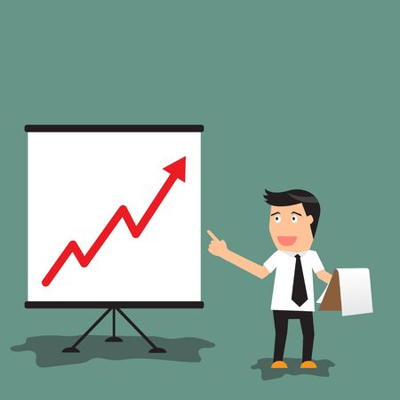 Cartoon businessman pointing at a board at a presentation of growing graph in business concept, vector illustration. illustration