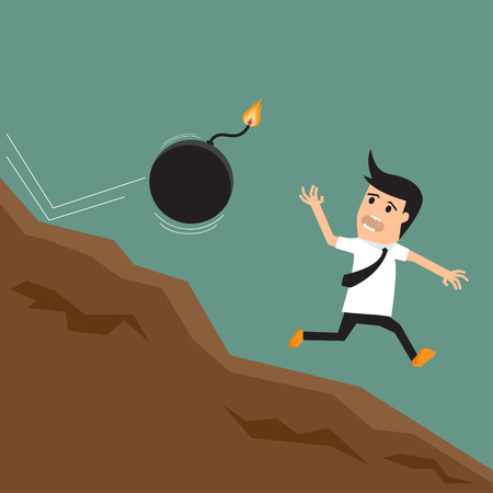 Cartoon businessman running away from sparkling bomb. vector illustration. illustration