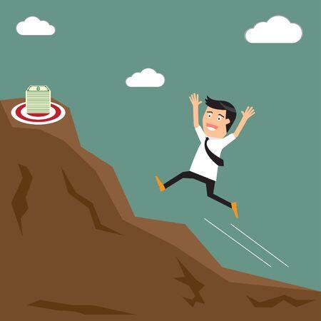 way bill: Businessman runs up the hill towards the target (money). vector illustration.