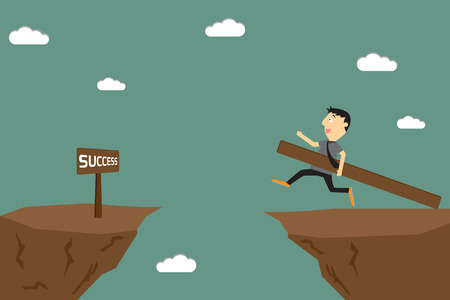 Businessman preparing to jump over a mountain with wood. vector illustration. illustration