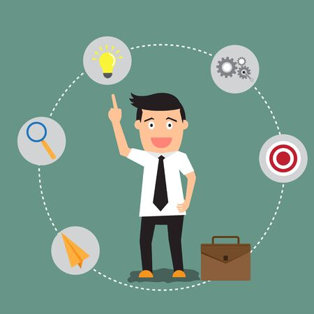 finance department: businessman with success and vision concept icons, vector illustration trendy flat design.