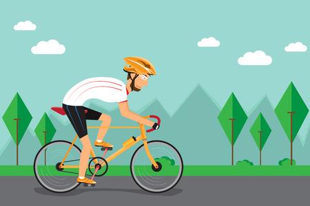 Mannen fietsen op de weg. vector illustratie.
