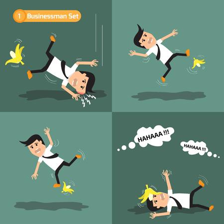 surprising: Businessman set: man slipping on a banana peel. vector illustration.