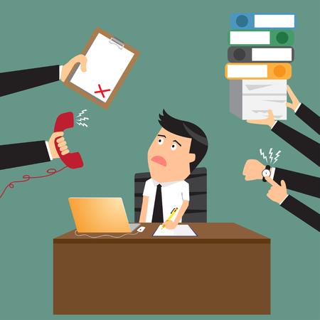 Hombre de negocios preocupante de dibujos animados con el teléfono en la mano tiene una gran cantidad de trabajo y el papeleo adecuado para el diseño de concepto de negocio de gestión de tiempo, ilustración vectorial diseño plano. Foto de archivo - 40879387
