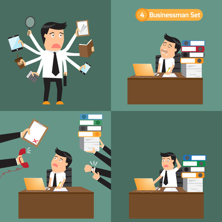 document management: businessman set: businessman with object in many business concept. hard work, overload, multi task, multi skill and busy. Abstract illustration, flat design.