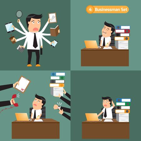 workplace stress: businessman set: businessman with object in many business concept. hard work, overload, multi task, multi skill and busy. Abstract illustration, flat design.
