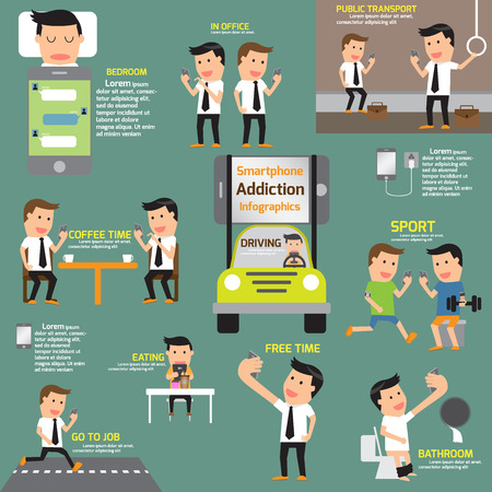using smartphone: Smartphone Addiction Infographics. Various pose in using smartphone addiction concept. vector illustration.
