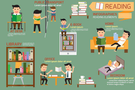 Libro y elementos de lectura infografía, ilustración vectorial. Vectores