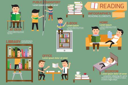 personas leyendo: Libro y elementos de lectura infografía, ilustración vectorial. Vectores
