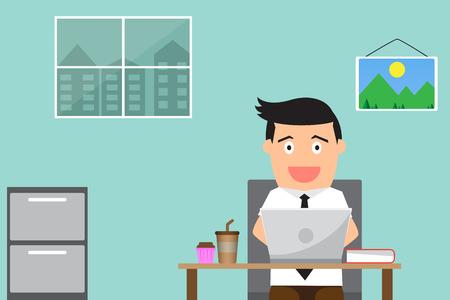 hombre de negocios trabajando y feliz en su escritorio. ilustración vectorial.