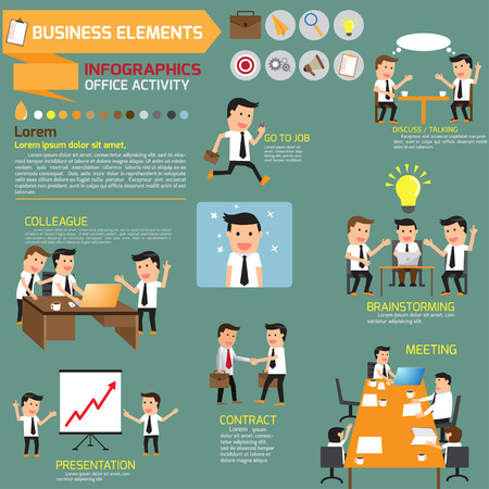business Infographics. business in various pose of business concept. vector illustration. Vettoriali