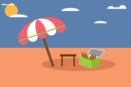 carbonated: umbrella and chairs with carbonated water tank in desert, vector illustration. Illustration