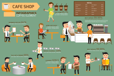coffee shop infographics elements. illustration design of activities in coffee shop. vector illustration Vectores