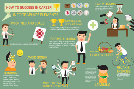career job: how to success in career. infographics elements concept vector illustration. Illustration