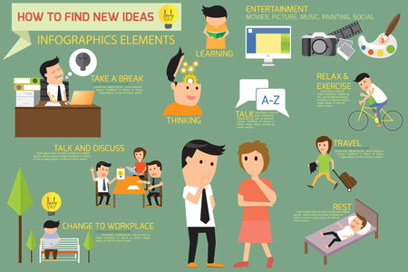 How to find new business ideas for best idea in everyday life, Infographics elements vector illustration.