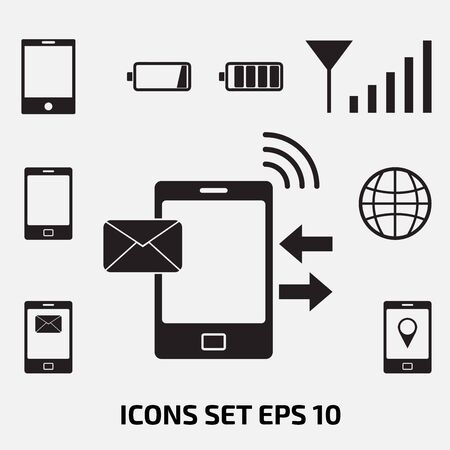 mobile icons: smartphone, phone, mobile icons set, vector illustration. Illustration