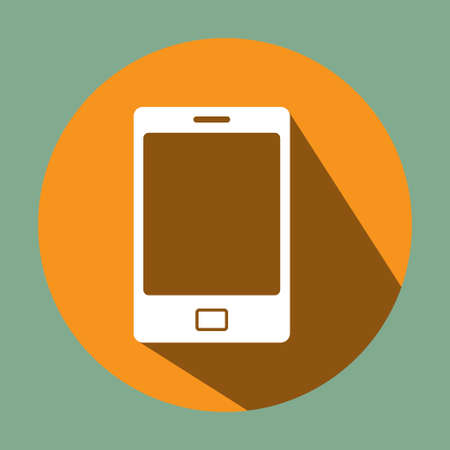 smartphone: Flat long shadow Icon of smartphone, vector illustration.
