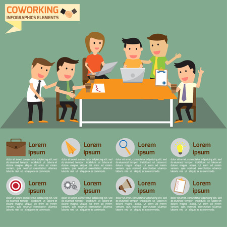 coworking business team infographics elements with business icons, vector illustration. Illustration