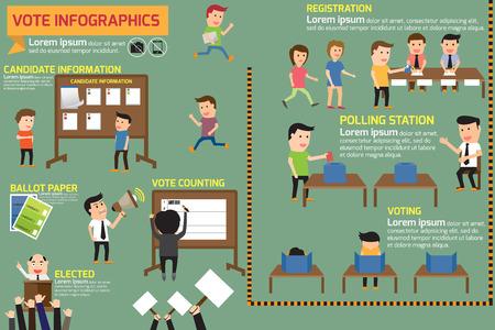 Elementos de la elección y la infografía de votación. ilustración vectorial. Foto de archivo - 42093117