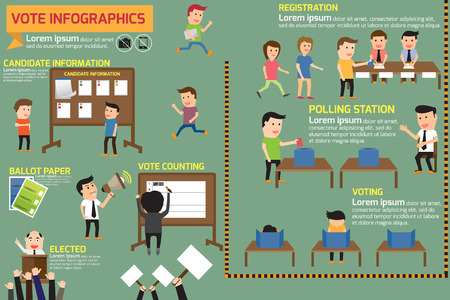 democracia: Elementos de la elección y la infografía de votación. ilustración vectorial. Vectores