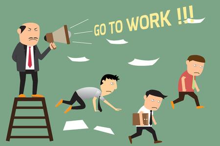 jefe enojado: Jefe enojado con los empleados perezosos, ir a trabajar el concepto ilustración vectorial.