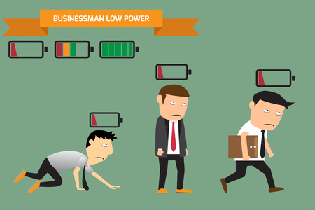 Businessman with low battery, low energy, vector illustration. Çizim