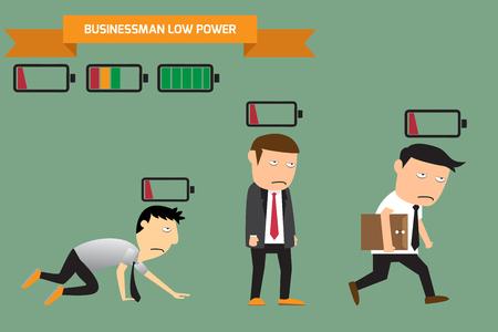 Businessman with low battery, low energy, vector illustration. Ilustração