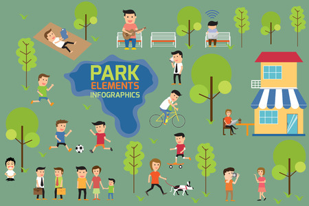city park: Park infographics elements, people having activities in the park, vector illustration.