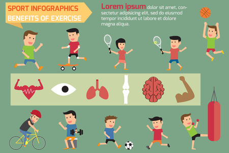 healthy sport: Sport healthy infographics elements. benefits of exercise vector illustration. Illustration