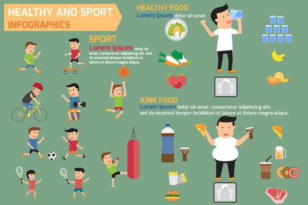 Infografías saludables y deportivas elementos con una alimentación sana y la comida chatarra. ilustración vectorial.