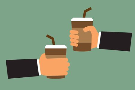 hand hold: cartoon hand hold paper cup or take-home coffee cup and tube, vector illustration. Illustration