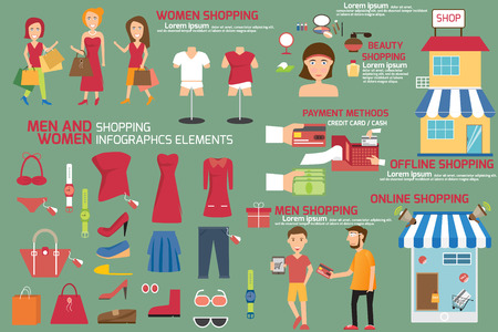 men and women shopping infographics elements, shopping infographics vector illustration.