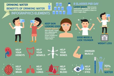 beber agua: Beber elementos infográficos de agua, beneficios de beber agua ilustración vectorial. Vectores