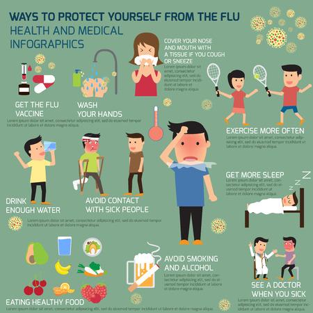 tos: Infografía elementos gripe. cómo protegerse de la gripe. ilustración vectorial.