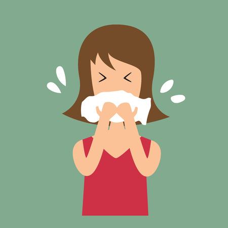 gripe: Mujeres tos ilustración vectorial.