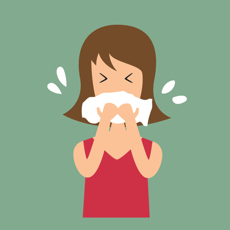 cold virus: Women coughing vector illustration. Stock Photo