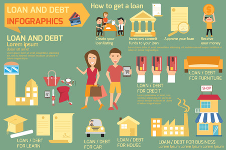 debt collection: Infographics of loan and debt. business concept elements. vector illustration.