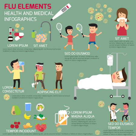 Infographics of the flu elements. protect yourself from the flu. vector illustration.  イラスト・ベクター素材