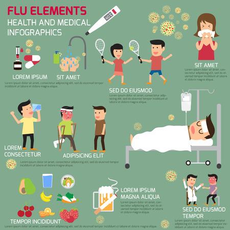 Infographics van de griep elementen. uzelf te beschermen tegen de griep. vector illustratie.