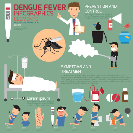 sick person: Dengue fever infographics. vector illustration.